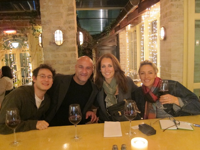 At Dallal in Tel Aviv with, left to right, journalist Shlomo Kapustin, tour guide Doron Ozen, and journalist Lanee Neil